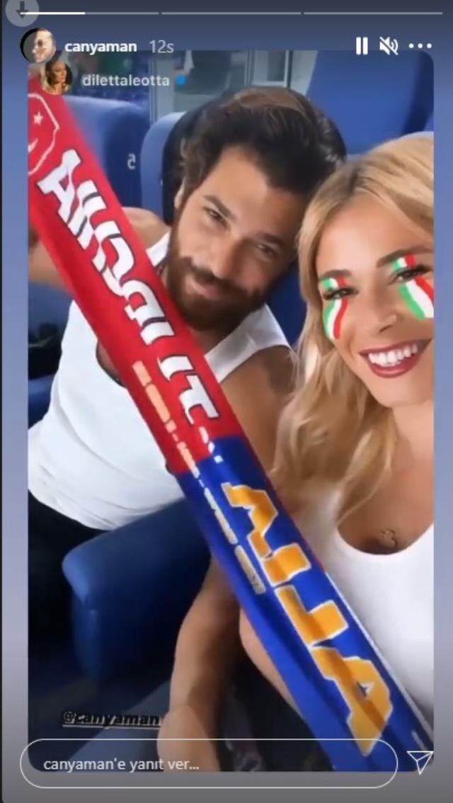 Can Yaman ve sevgilisi tribünde Türkiye-İtalya karşılaşmasını izledi! Maç sonu yıkılan oyuncu yüzünü maskeyle gizledi