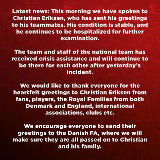 Danimarka Futbol Federasyonu: Eriksen'in durumu stabil ve hastanede kalmaya devam edecek