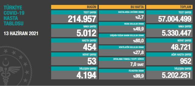 Son Dakika: Türkiye'de 13 Haziran günü koronavirüs nedeniyle 53 kişi vefat etti, 5 bin 12 yeni vaka tespit edildi