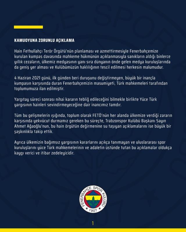 Ahmet Ağaoğlu'nun, '2010-11'de şike yapılmıştır' ifadesine F.Bahçe'den çok sert yanıt geldi