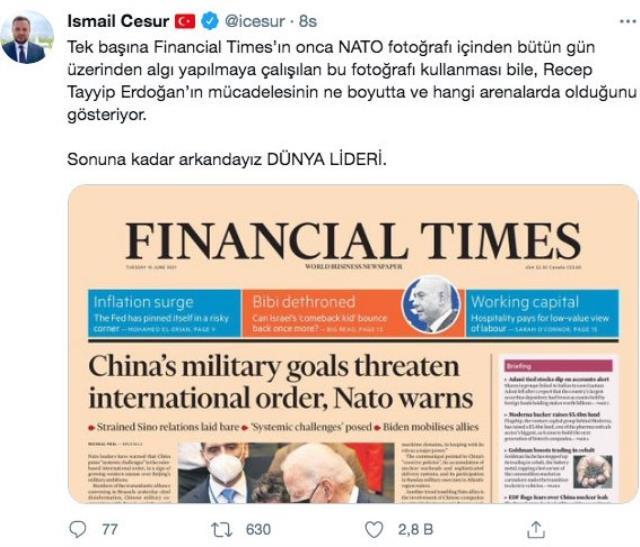 Cumhurbaşkanı Erdoğan'ın danışmanından Financial Times'ın kapağına sert tepki