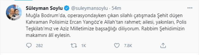 İçişleri Bakanı Soylu'dan şehit polis Ercan Yangöz için başsağlığı mesajı