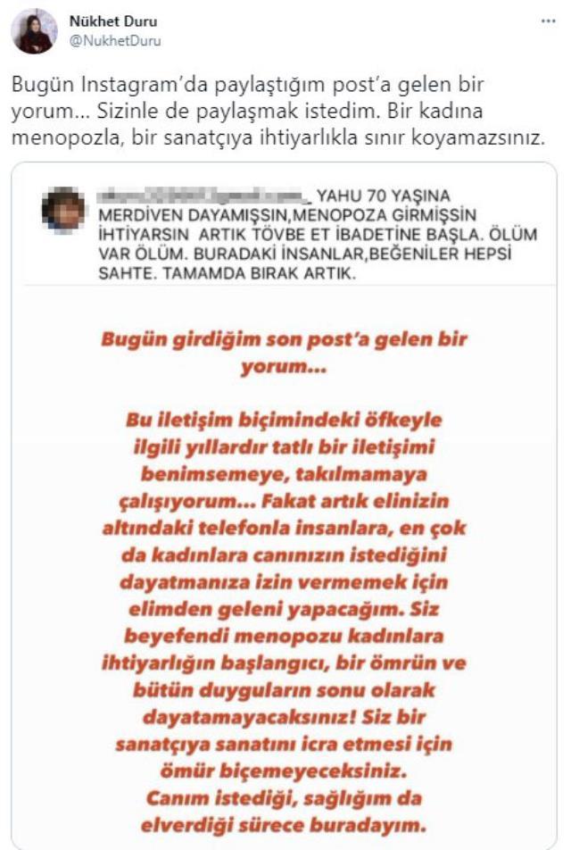 'Menopoza girmişsin' mesajı Nükhet Duru'yu kızdırdı