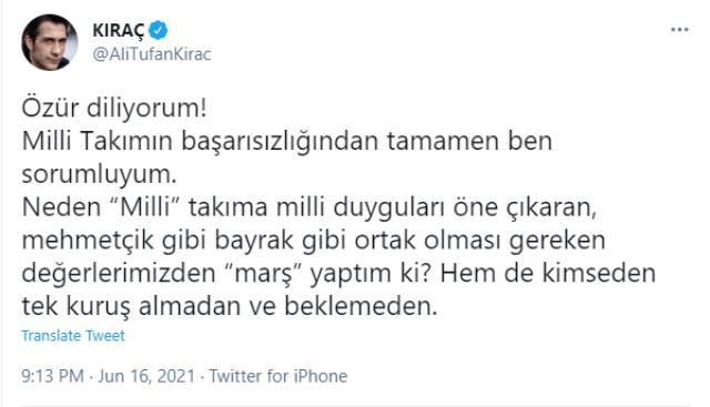 Milli takımın Galler yenilgisinin ardından Kıraç'tan dikkat çeken paylaşım: Özür dilerim, sorumlusu benim