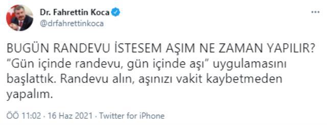 Son Dakika: Sağlık Bakanı Fahrettin Koca: Gün içinde randevu, gün içinde aşı uygulamasını başlattık