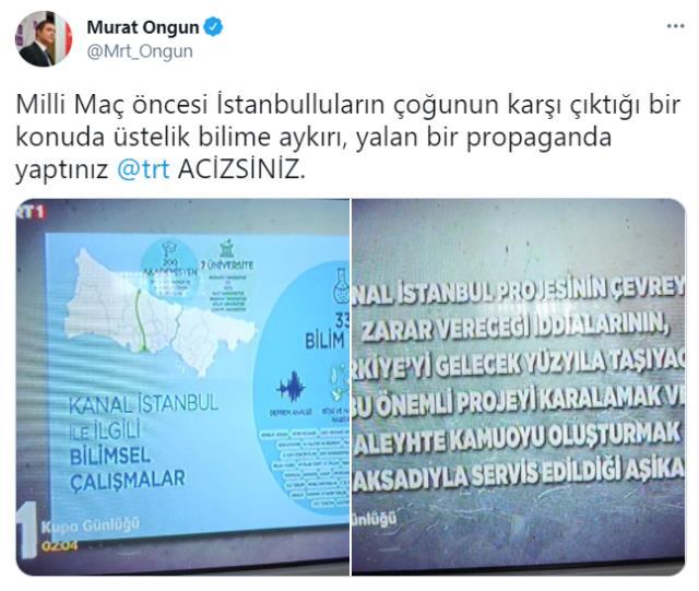 Türkiye-Galler maçı öncesi TRT'de yayınlanan Kanal İstanbul reklamı İBB Sözcüsü Ongun'un tepkisini çekti