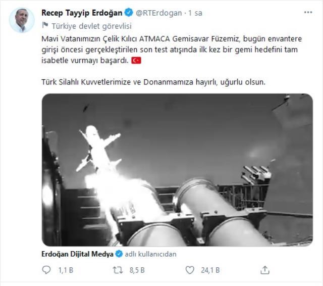 Cumhurbaşkanı Erdoğan'dan 'Atmaca Gemisavar Füzesi' paylaşımı: Hedef tam isabetle vuruldu