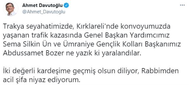Davutoğlu'nun konvoyunda kaza: Genel Başkan Yardımcısı ve bir çocuk yaralandı