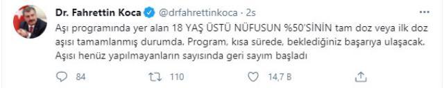 Sağlık Bakanı Koca paylaştı: Aşılamada sayı 40 milyonu aştı