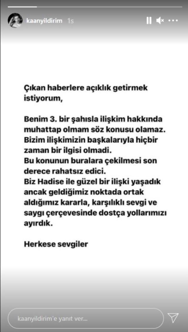 Kaan Yıldırım, Hadise'nin yasak aşk iddiası için Ebru Gündeş'le konuştuğunu yalanladı