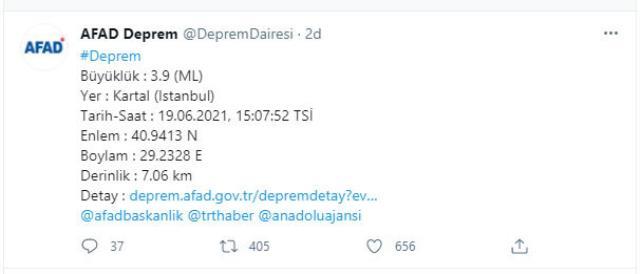 Son Dakika: İstanbul'da 3,9 şiddetinde deprem meydana geldi
