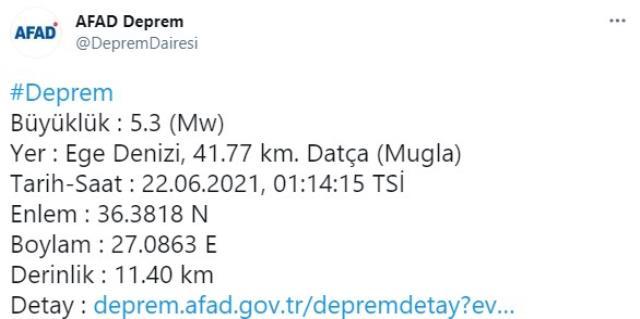 Datça açıklarında 5,3 büyüklüğünde deprem meydana geldi