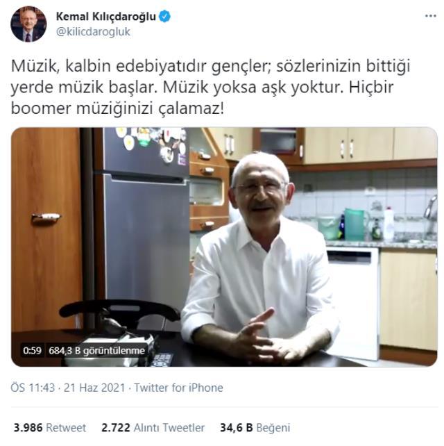 Kılıçdaroğlu'nun müzik kısıtlamasına tepki paylaşımında kullandığı 'boomer' ifadesi dikkat çekti
