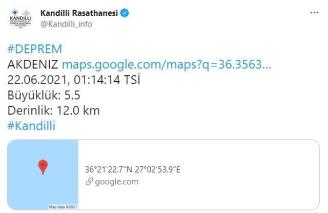 Muğla açıklarında 5.3 büyüklüğünde deprem meydana geldi