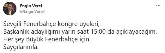 Fenerbahçe'nin eski futbolcusu Engin Verel başkanlığa aday olacak