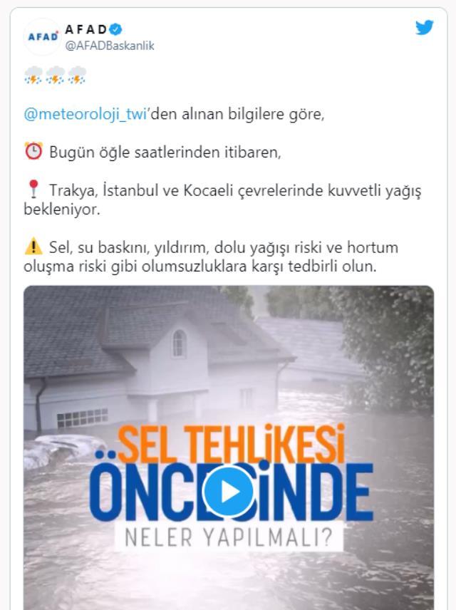 Meteoroloji'den İstanbul için ani sel ve su baskını uyarısı! 11.00-19.00 saatleri arasında etkili olacak