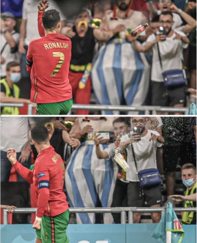 'Su için' mesajı veren Cristiano Ronaldo'ya, kola şişesi fırlatıldı