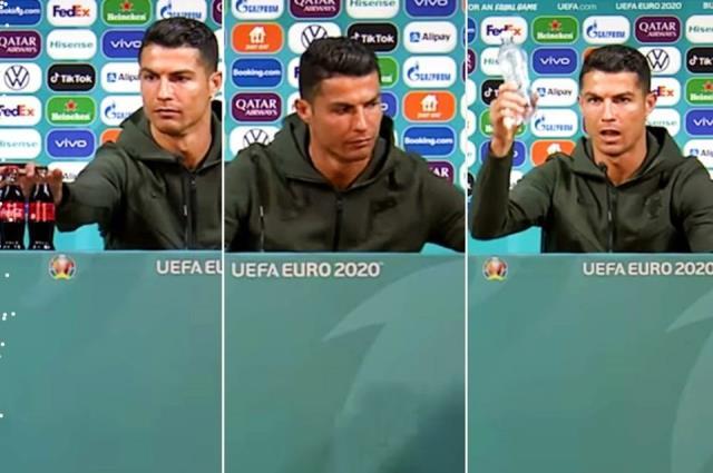 'Su için' mesajı veren Ronaldo'ya, tribünlerden kola şişesi fırlatıldı