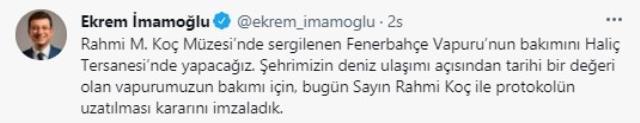 İmamoğlu ile Rahmi Koç imzaları attı! Fenerbahçe Vapuru'nun bakımını yine İBB yapacak