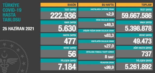 Son Dakika: Türkiye'de 25 Haziran günü koronavirüs nedeniyle 56 kişi vefat etti, 5 bin 630 yeni vaka tespit edildi