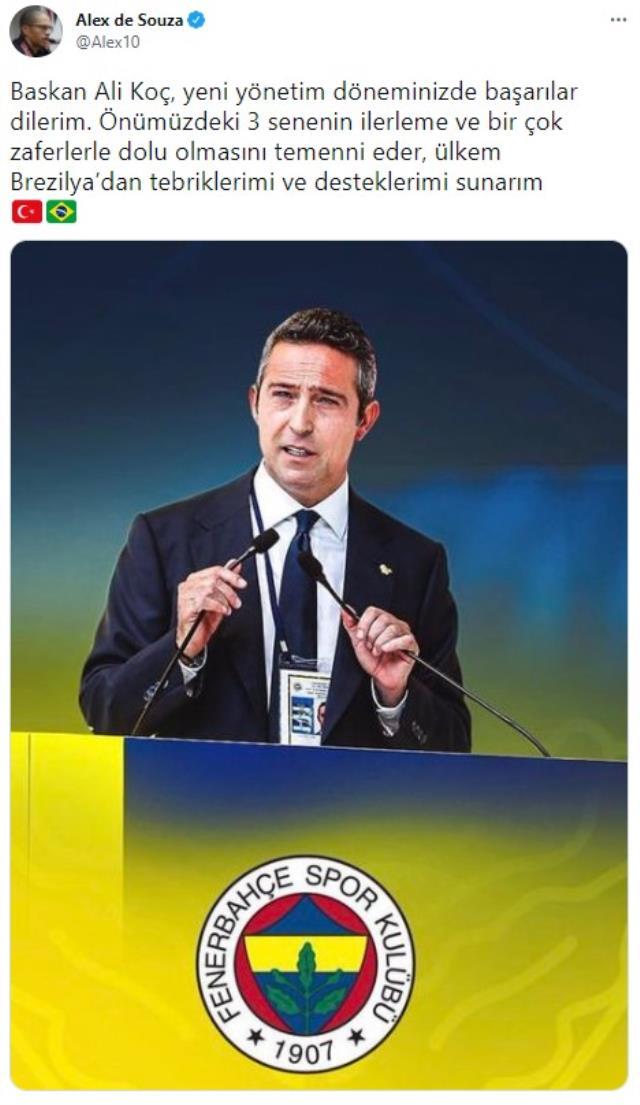 Alex de Souza, Fenerbahçe'de yeniden başkan seçilen Ali Koç'a başarılar diledi
