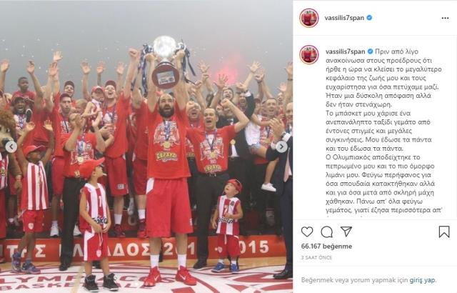 Avrupa ve Yunan basketbolunun efsane ismi Vasillis Spanoulis emekli oldu