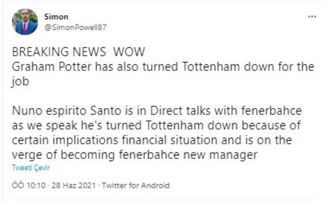 İngiliz basınında F.Bahçe'nin yeni hocasının Nuno Espirito Santo olduğu konuşuluyor
