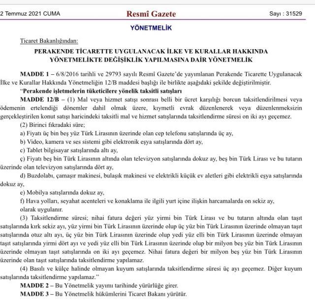 Ticaret Bakanlığı'ndan taksit sayılarına düzenleme