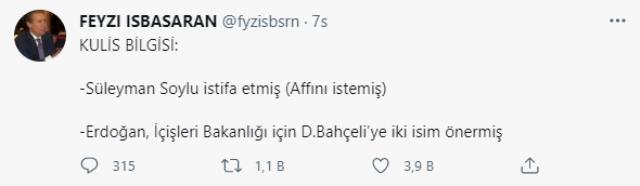 AK Partili Feyzi İşbaşaran'ın 'Bakan Soylu istifa etmiş' iddiasına İçişleri Bakanlığı yetkililerinden yalanlama