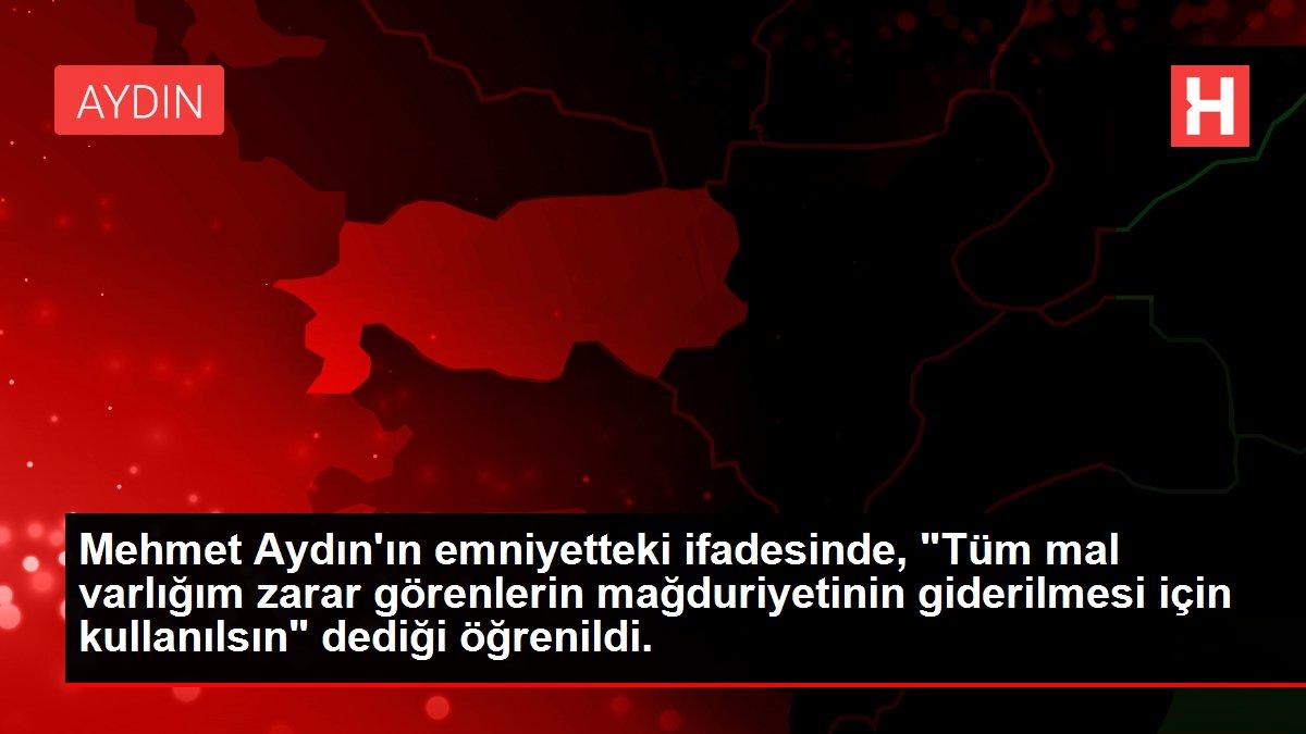 Mehmet Aydın'ın emniyetteki ifadesinde, 'Tüm mal varlığım zarar görenlerin mağduriyetinin giderilmesi için kullanılsın' dediği öğrenildi.