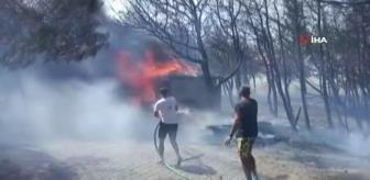 Ezine: Yusuf Güney, Bozcaada'daki yangın söndürme çalışmalarına katıldı