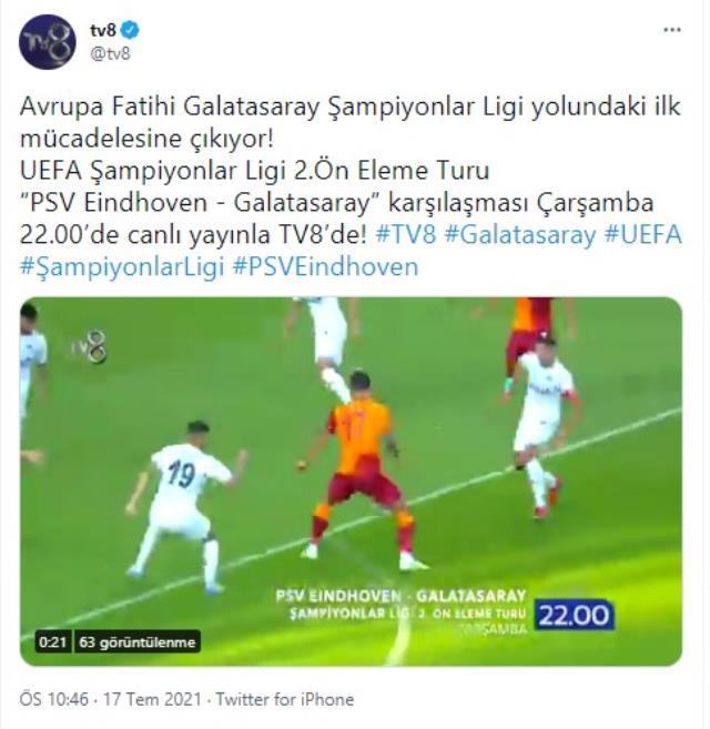 Şampiyonlar Ligi 2. Ön Eleme Turu'nda oynanacak PSV-Galatasaray maçı TV8 ekranlarından canlı yayınlanacak