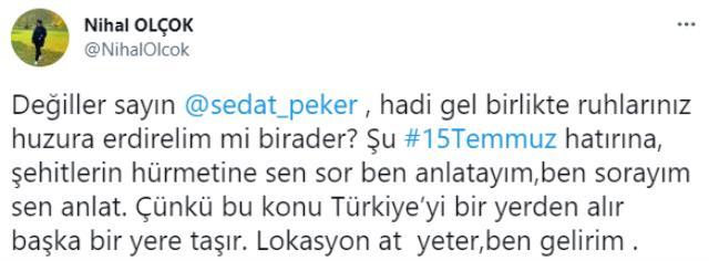 Sedat Peker'den 'Lokasyon at ben gelirim' çağrısında bulunan Nihal Olçok'a yanıt: Şeref duyarım