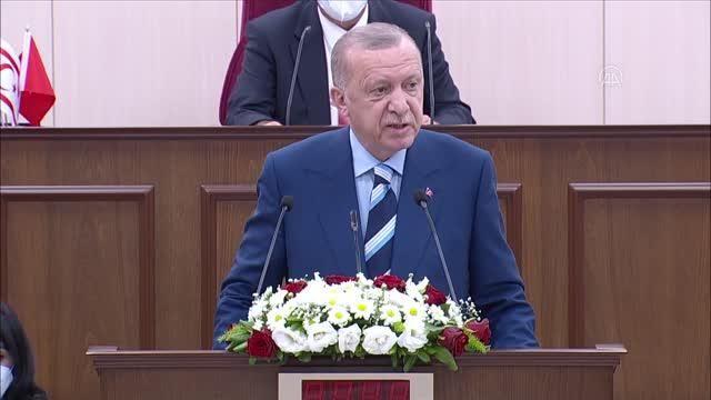 Cumhurbaşkanı Erdoğan: 'Kıbrıs davasının sahibi, yavru vatanıyla, anavatanıyla, büyük Türk milletinin tamamıdır'