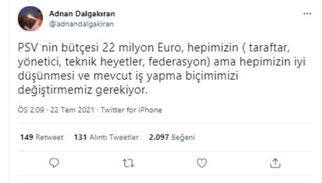 Beşiktaş İkinci Başkanı Adnan Dalgakıran, G.Saray'ın PSV'ye 5-1 kaybettiği maçla ilgili dikkat çeken yorum yaptı