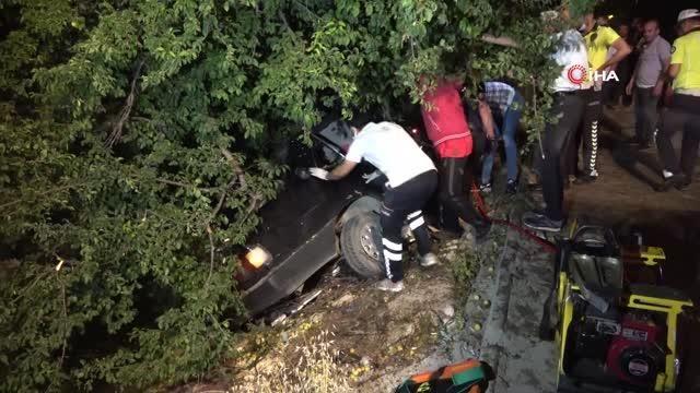 Sulama kanalındaki ağaca çarpan otomobil ikiye bölündü: 1 ağır yaralı