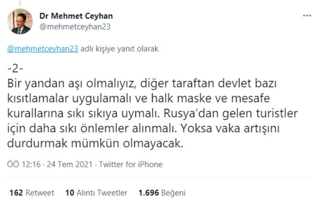 'Aktif vaka sayısı 100 bini geçti' diyen Mehmet Ceyhan alınması gereken yeni tedbirleri paylaştı