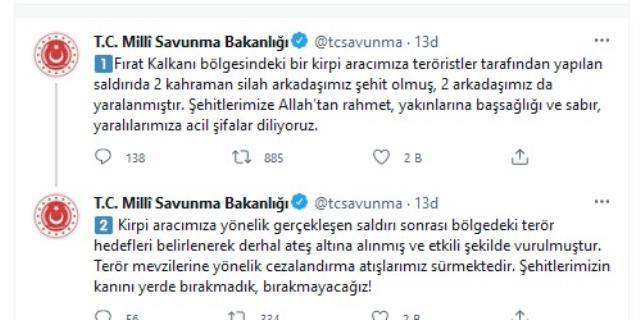 Fırat Kalkanı Bölgesi'nde Türk birliğine terör saldırısı: 2 şehit, 2 yaralı