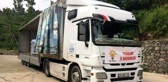 Recep Tayyip Erdoğan: AK Parti İl Başkanlığı, Artvin ve Rize'deki sel bölgesine 4 tır su gönderdi
