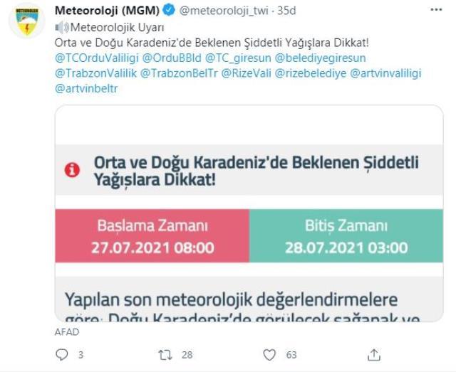 Meteoroloji ve AFAD'tan Orta ve Doğu Karadeniz illerine sel ve baskın uyarısı