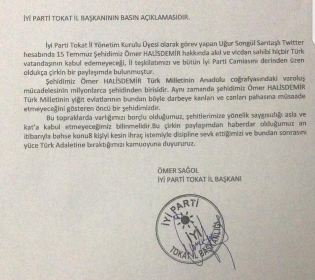 Ömer Halisdemir için çirkin ifadeler kullanan İYİ Partili Sarıtaşlı, kesin ihraç talebiyle disipline sevk edildi