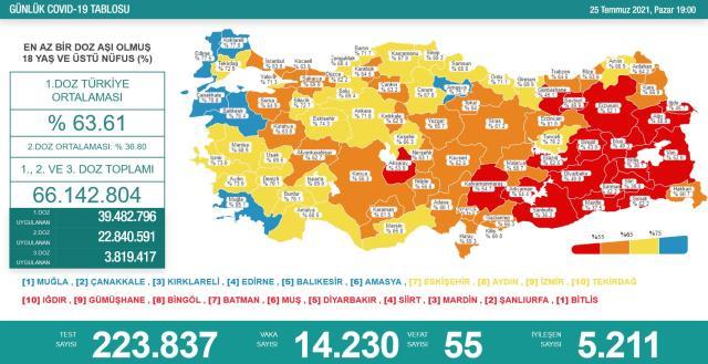 Son Dakika: Türkiye'de 25 Temmuz günü koronavirüs nedeniyle 55 kişi vefat etti, 14 bin 230 yeni vaka tespit edildi