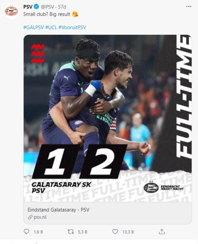 Galatasaray maçı sonrası PSV'den olay paylaşım: Küçük kulüp? Büyük sonuç