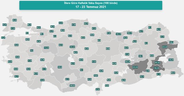 İl il koronavirüs vaka sayıları kaçtır? 17-23 Temmuz İl il güncel koronavirüs risk haritası ve haftalık vaka sayıları açıklandı mı?