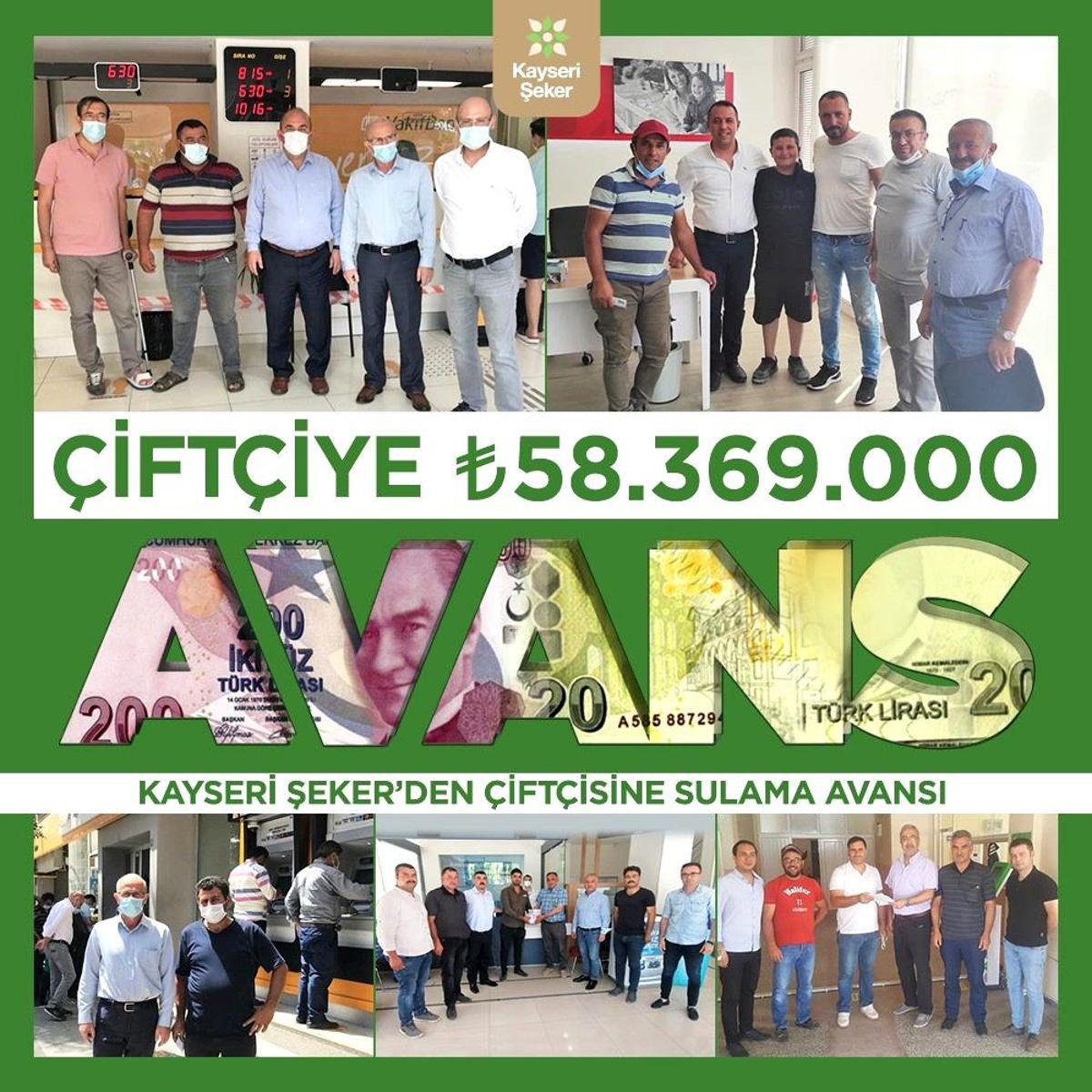 Kayseri Şeker'den çiftçiye 58 milyon 369 bin TL'lik sulama avansı