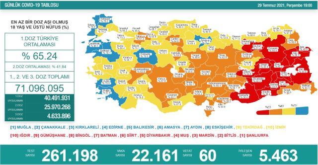 Son Dakika: Türkiye'de 29 Temmuz günü koronavirüs nedeniyle 60 kişi vefat etti, 22 bin 161 yeni vaka tespit edildi
