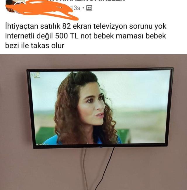 Televizyonunu satışa çıkaran vatandaştan ilginç ilan: Bebek bezi ve maması ile takas olur