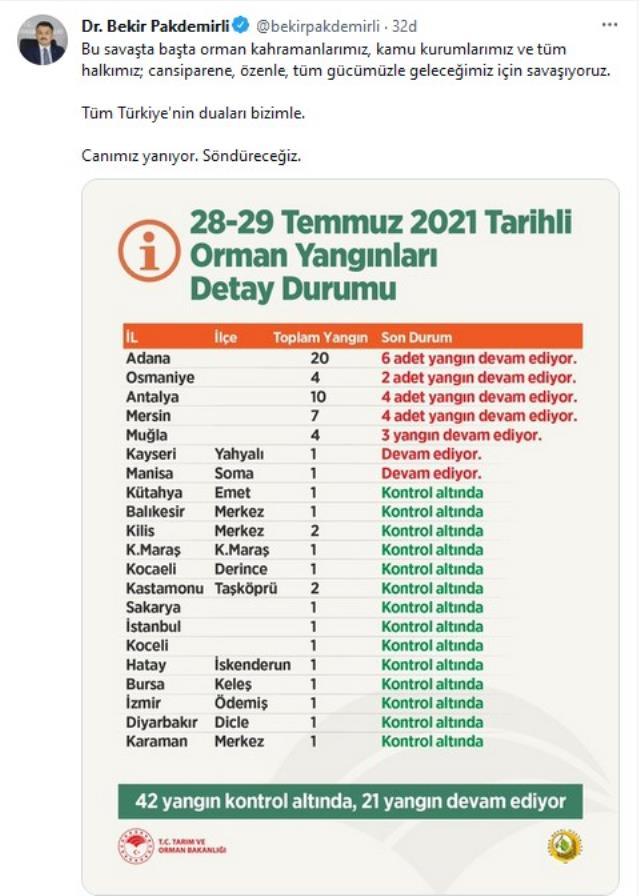 Türkiye felaketi yaşıyor! 7 ilde 21 noktada orman yangınları sürüyor