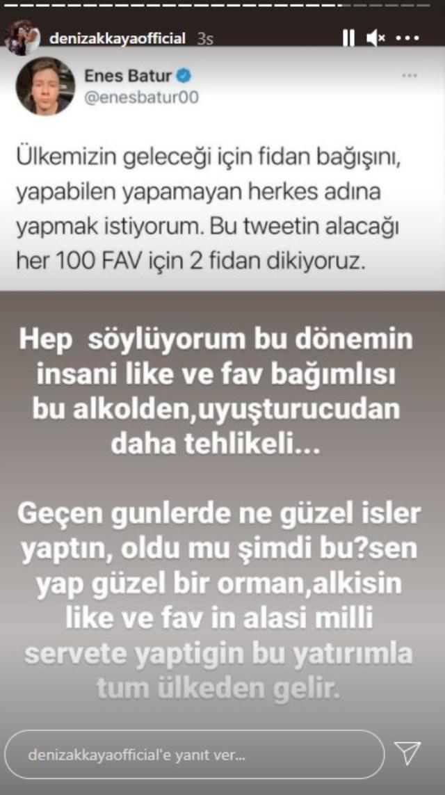 Deniz Akkaya, paylaşımına gelen beğenilere göre bağış yapacağını söyleyen Enes Batur'a tepki gösterdi