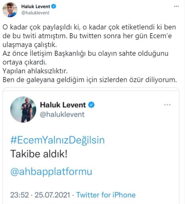 Haluk Levent, 'Ecem Güçlük' hesabının sahte olduğunu öğrenince özür diledi: Galeyana geldim